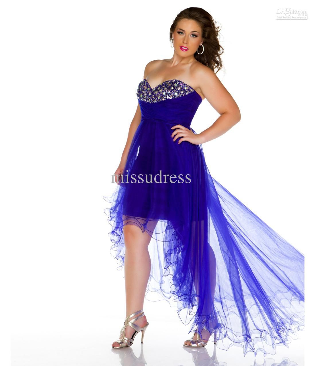 front short back long beaded mini gown prom dress
