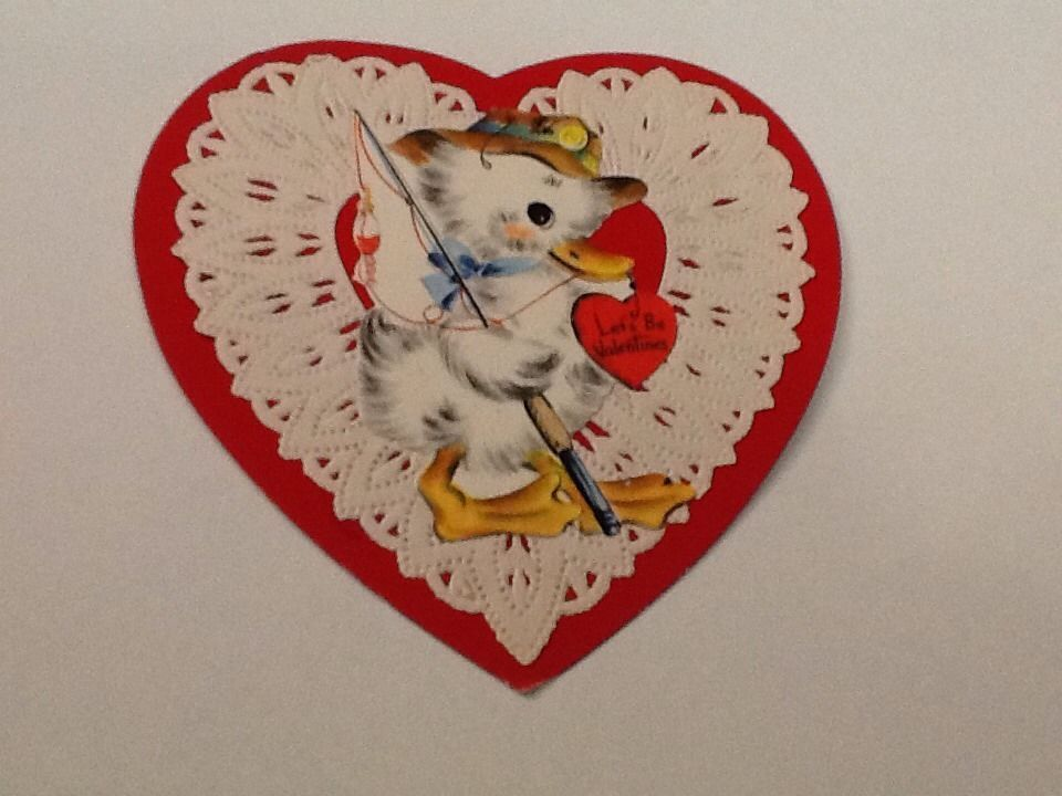 Vintage Greeting Card Valentine Duck Fishing in Collectibles | eBay