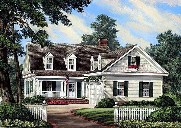 Plan 32598wp l shaped cape cod home plan dining room for L shaped house front porch