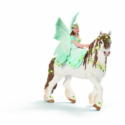 Schleich Eyela On Horseback by Schleich. $21.72. 3.4 in L x 6 in W x 7.2 in H. Princess Eyela goes out riding on her majestic, flower-adorned horse. Princess Eyela goes out riding on her majestic, flower-adorned horse to visit her two sisters with her best friend, Feya. Sometimes they race against each other, sometimes they trot alongside each other at a comfortable pace. They laugh so loud that even the birds join in.