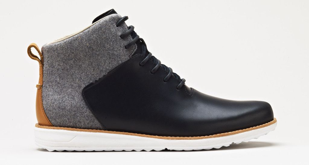 2f26e9c7a5 Black Leather and Gray Wool Chukka Boot with White Soles, by GATLAND W0223.  Mens Fall Winter Fashion.
