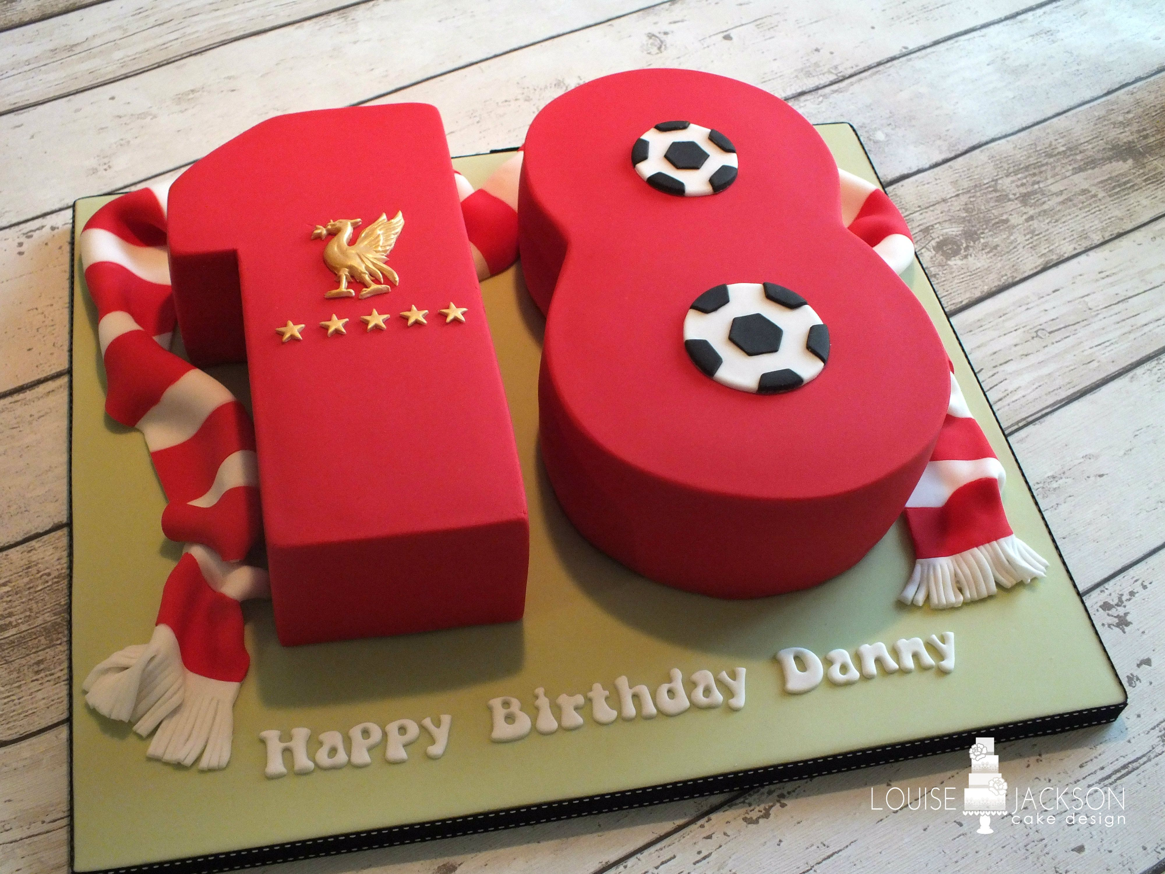 No 18 Birthday Celebration Cake With Liverpool Fc Theme