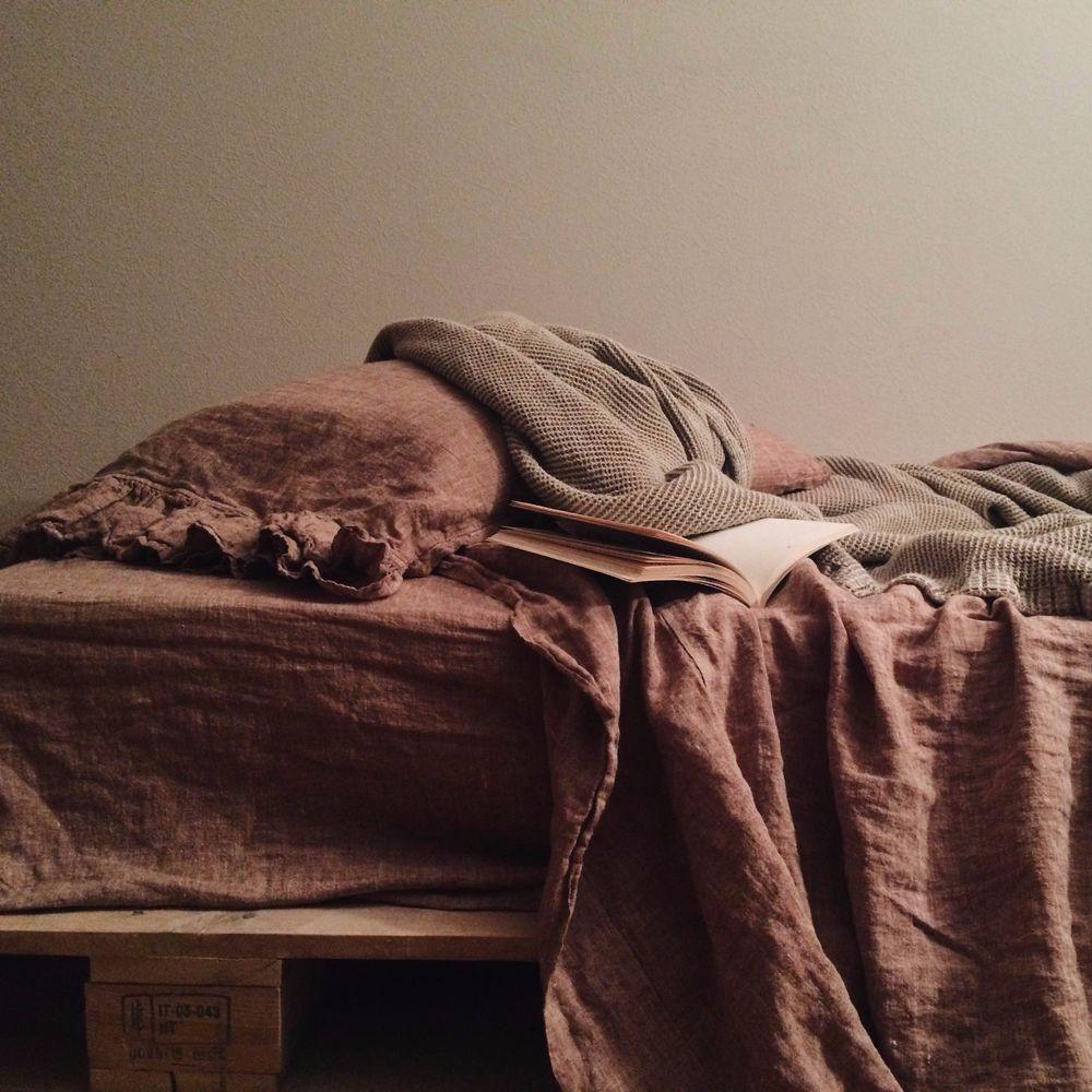 NEW! AMELIA linen sheet set, colorCacao Brown, queen size