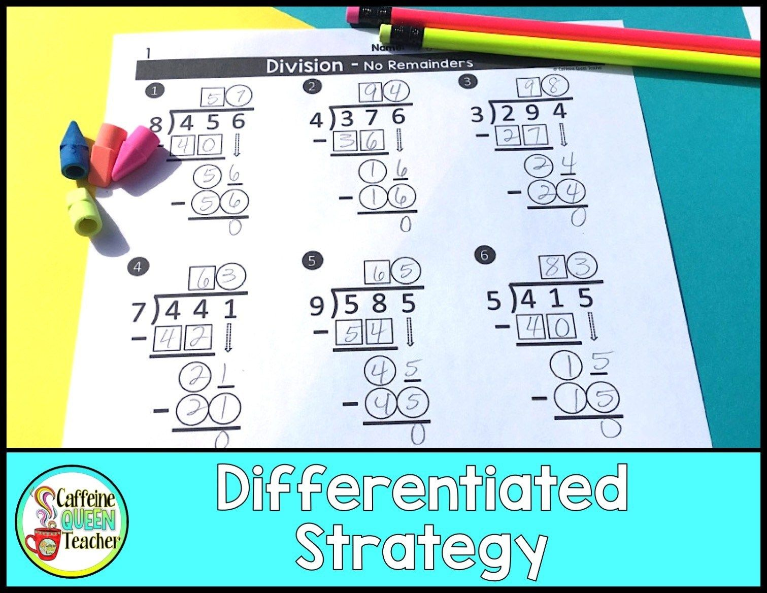 Differentiated Long Division Worksheets For Free Caffeine Queen Teacher Long Division Worksheets Long Division Special Education Students Differentiated division worksheets year