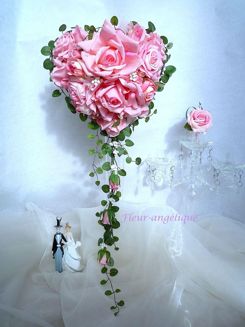 Bouquet De Mariee Rose En Forme De Coeur Perle Rose Fleur