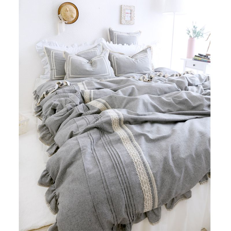 Interior Spaces Light Grey Luxury Linen Bedding 4pcs Set Cotton Fluid Fashion Princess Duvet Cover Bed Sheets Bed Linens Luxury Grey Bedroom Design Simple Bed