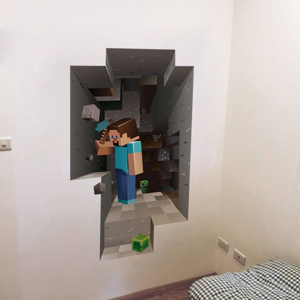 Minecraft Bedroom Wallpaper Cartoon 3d Diy Wallpaper For Kids Rooms Bedroom Living Room