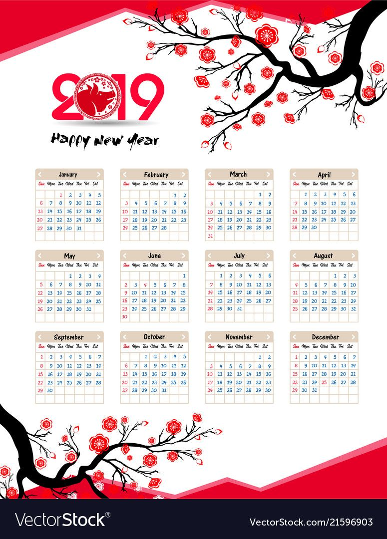 Calendar 2019 Chinese Calendar For Happy New Year 2019 Year Of The