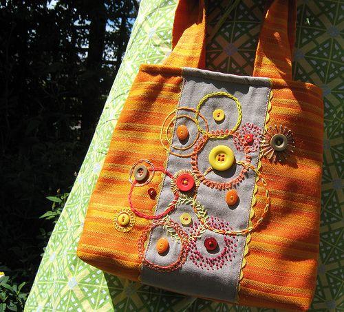 orange bag garden close up