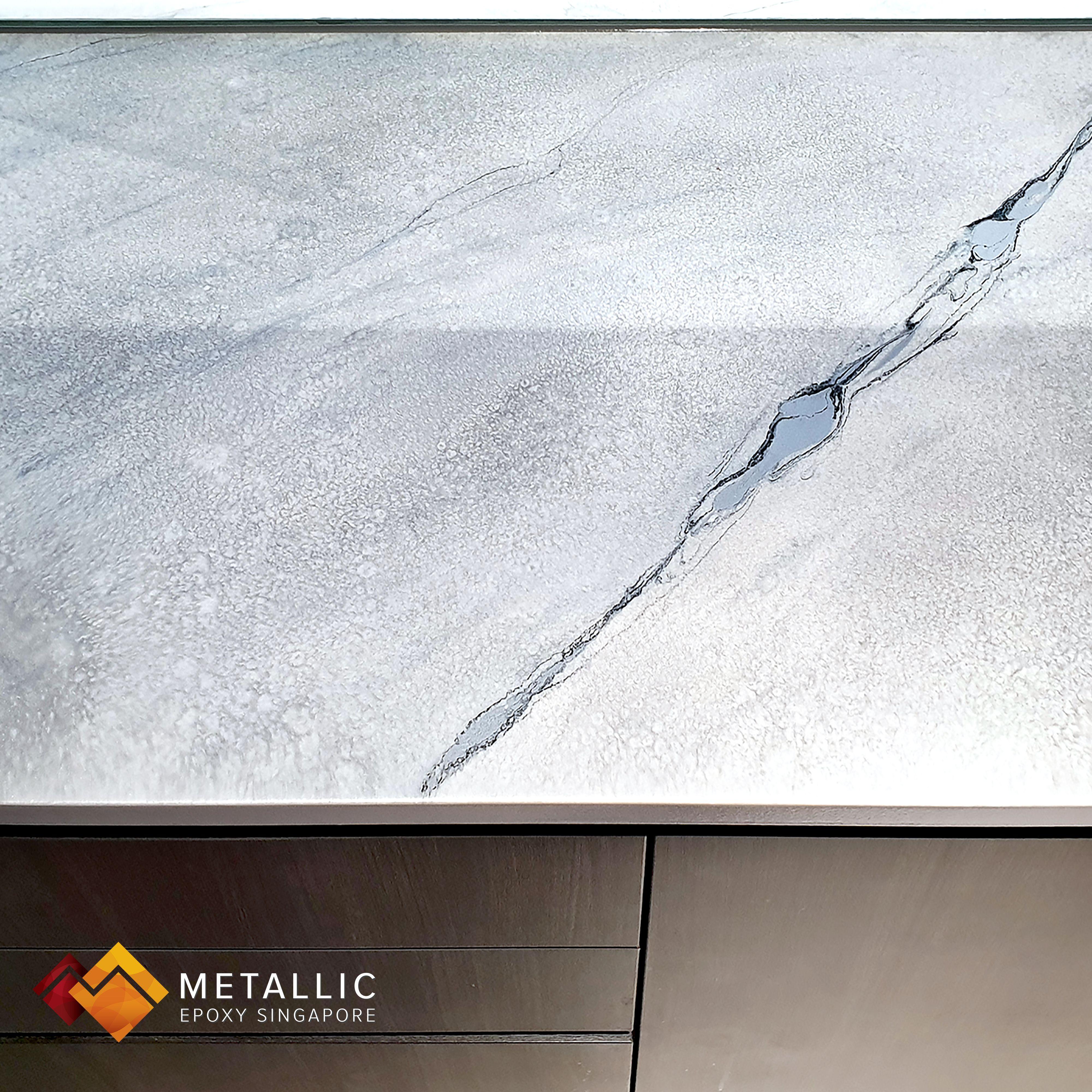 A Unique Metallic Grey Base With Black Veins To Create A Marble Theme Countertop Design For This Home Space Be Countertop Design Countertops Epoxy Countertop