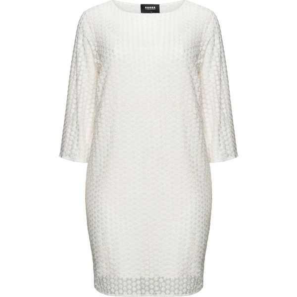 Carmakoma Cream Plus Size Floral lace shift dress ($145) ❤ liked on Polyvore