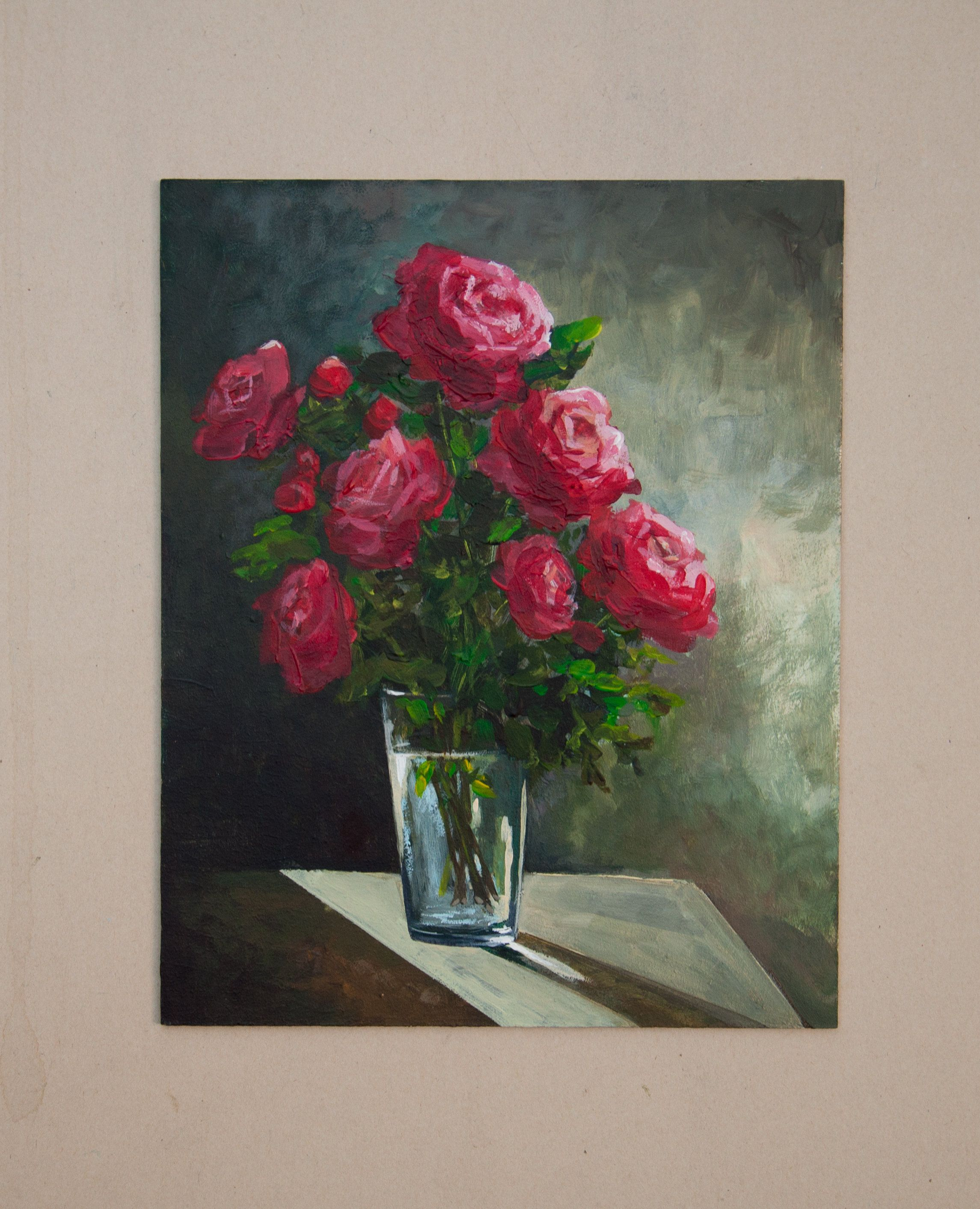 Flower Painting Red Roses Floral Still Life Original Painting
