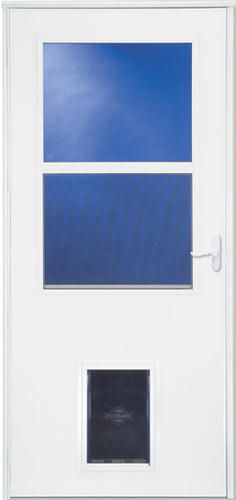 Larson Westminster 32 X 80 White Finish Self Storing Storm And Screen Door With Pet Flap Larson Storm Doors Storm Door Shed Homes