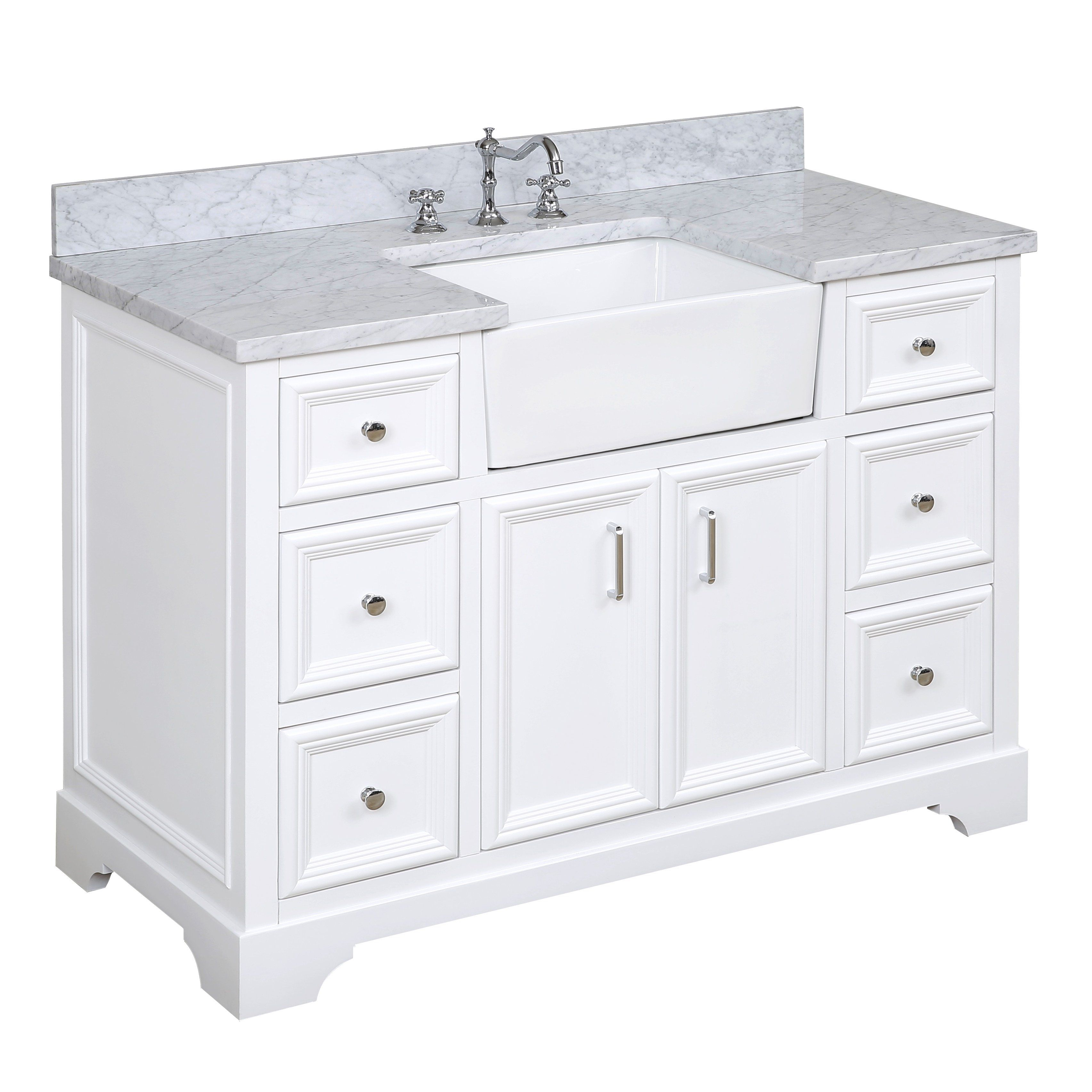 Zelda 48inch Farmhouse Vanity with Carrara Marble Top in
