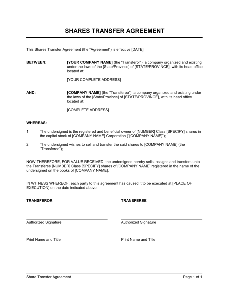 Image Result For Sample Of Share Transfer Deed