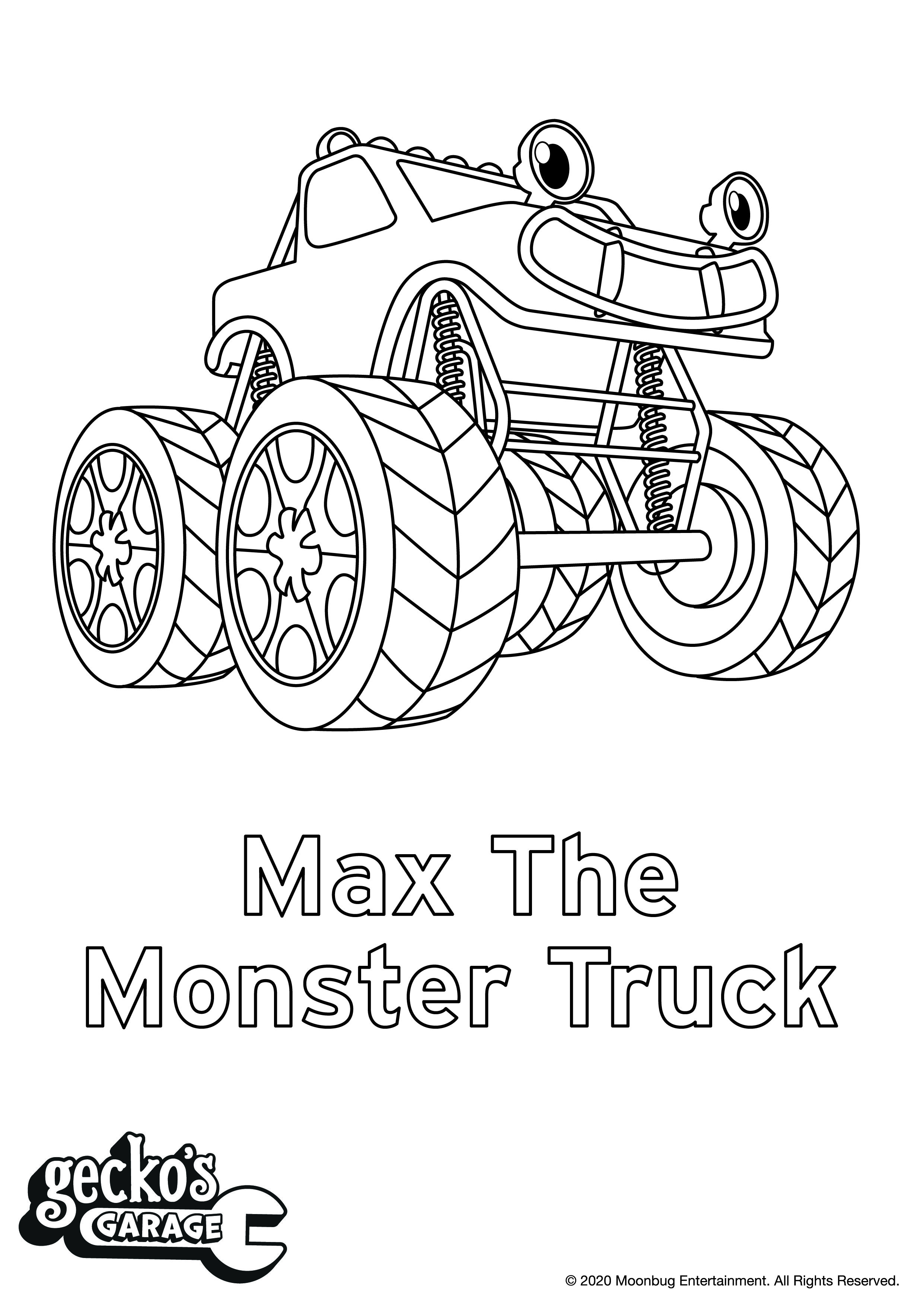 Gecko S Garage Activity Coloring Sheets Coloring Sheets Activities Monster Trucks [ 3509 x 2482 Pixel ]
