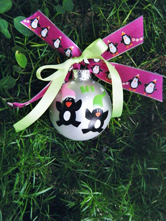 Best Friends Penguin Ornament - Personalized for Birthday or Christmas - Hand Painted Galss Ball