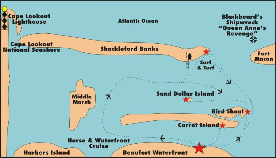 Info on sand dollar island, wild horses, dolphin cruises ... Map Of Harkers Island And Cape Lookout Nc on cape lookout lighthouse, cape lookout at night, cape lookout ferry harkers island, cape lookout beach camping,