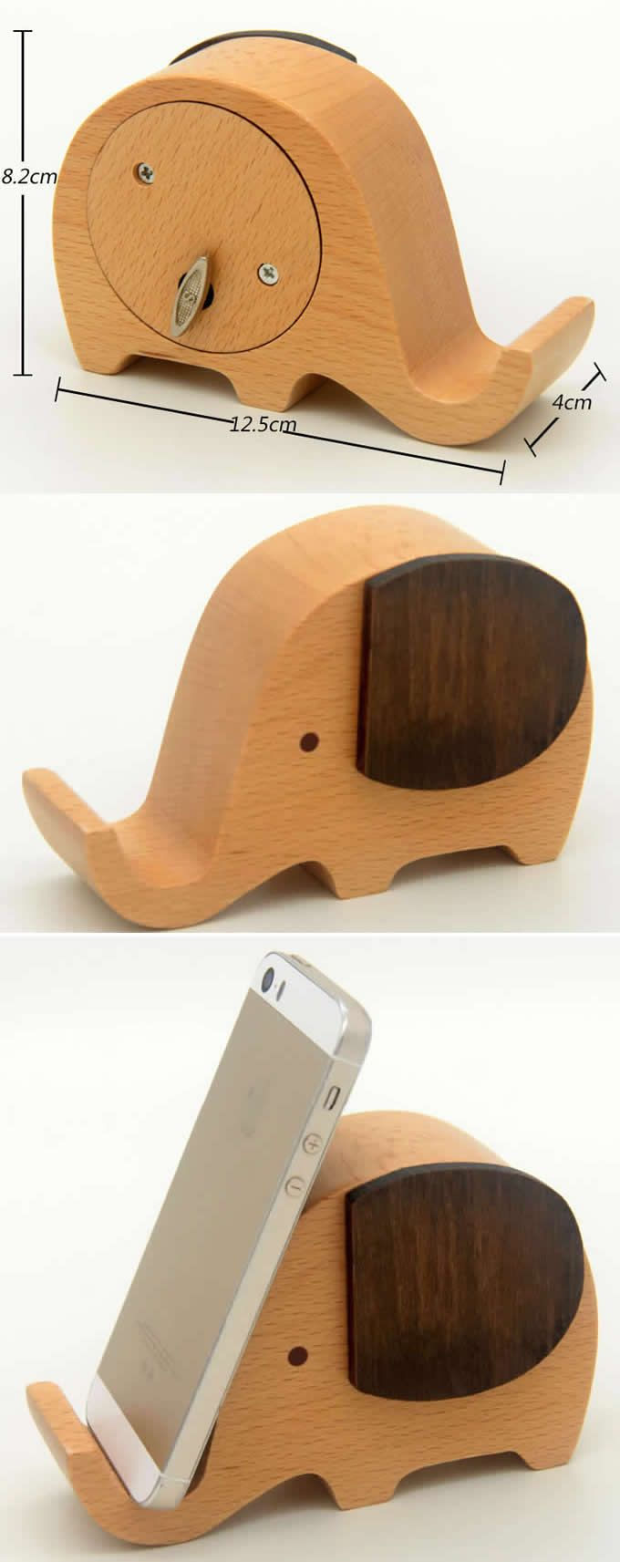 Wooden Elephant Music Box Mobile Phone Display Stand | Diy ...