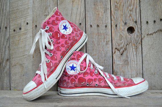 brillo encantador fina artesanía 100% de garantía de satisfacción Vintage Corverse All Star Valentine Hearts Pink & Red Chuck ...