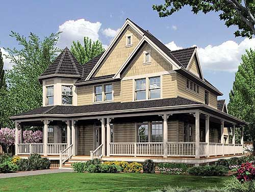Plan W6908AM Gallery Victorian Country Farmhouse Corner Lot House