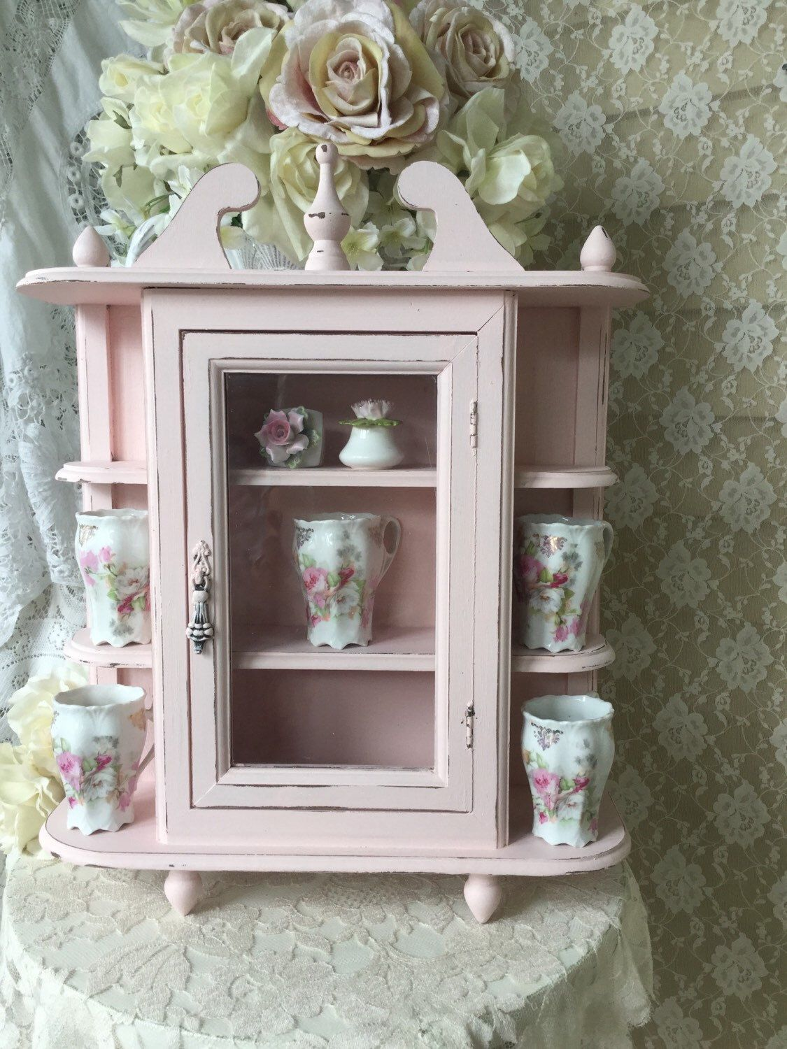 Shabby Pink Curio Cabinet With Glass Door Vintage Hanging Curio Cabinet Shelf Wall Cabinet Bathroom Ca Shabby Chic Decor Shabby Chic Pink Shabby Chic Bathroom