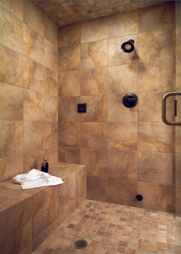 Large Tile Shower With Bench Bathrooms Pinterest