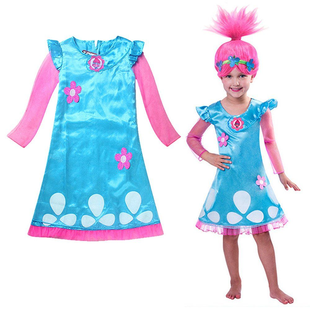Trolls+Dress+and+Wig+Set+Girls+Costume+Super+Cute+Multiple+Sizes ...