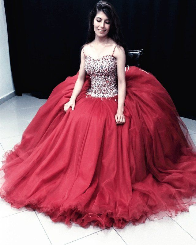 Stunning Crystal Beaded Organza Ruffles Ball Gowns Quinceanera ...
