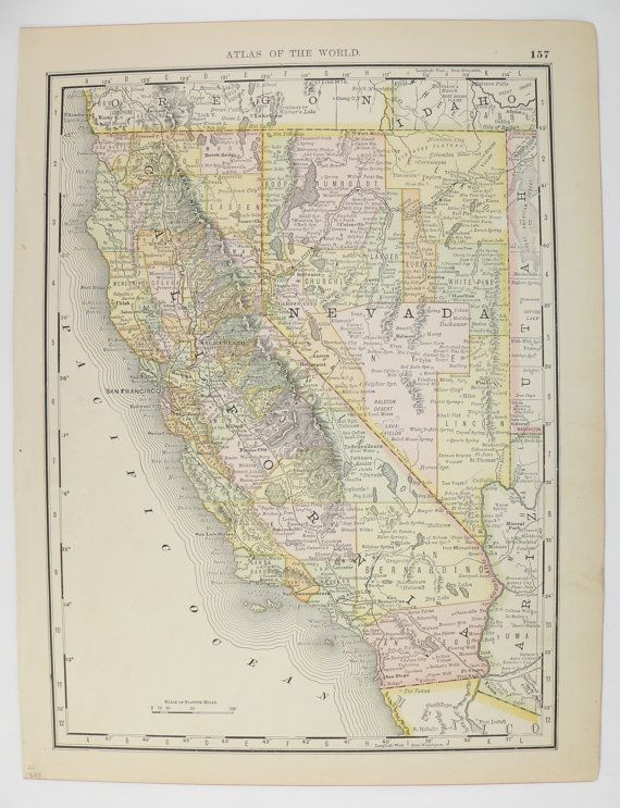 Antique California Map 1888 Vintage Map California, State ...