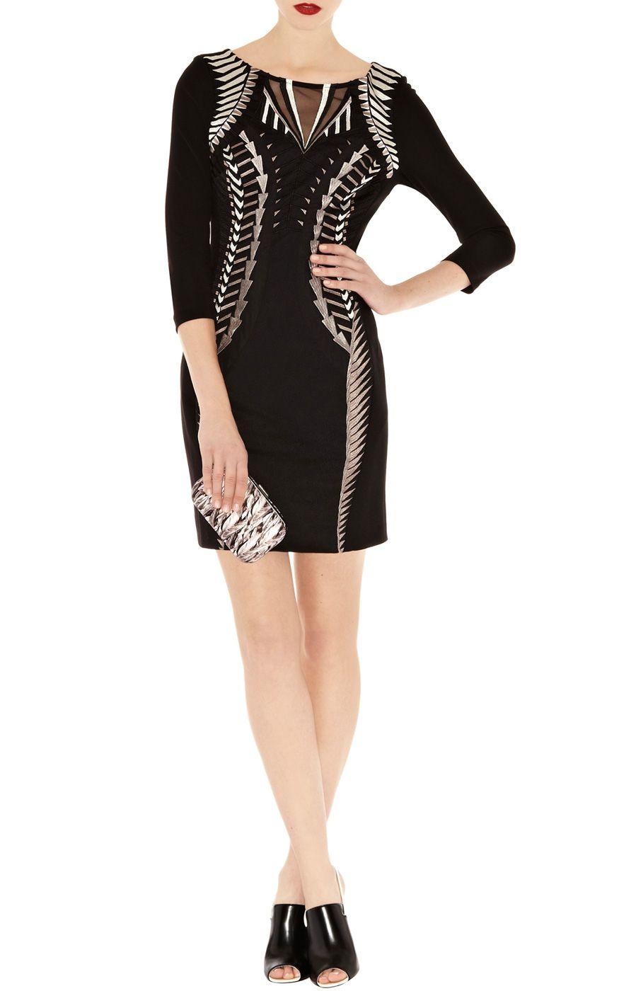 Black dress karen millen -  Black Multi Karen Millen Geometric Tribal Embroidery Dress