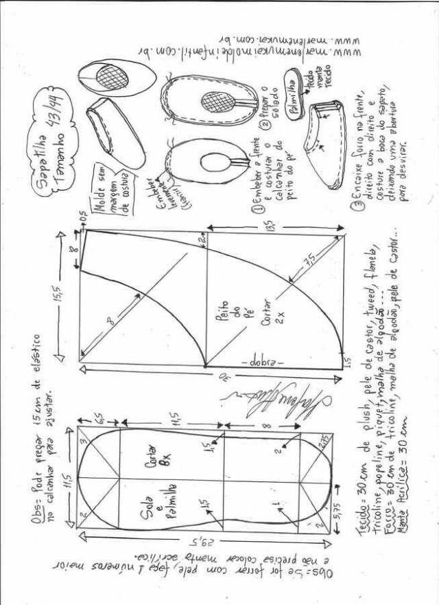 Lujo Zapatillas De Patrones De Costura Composición - Manta de Tejer ...