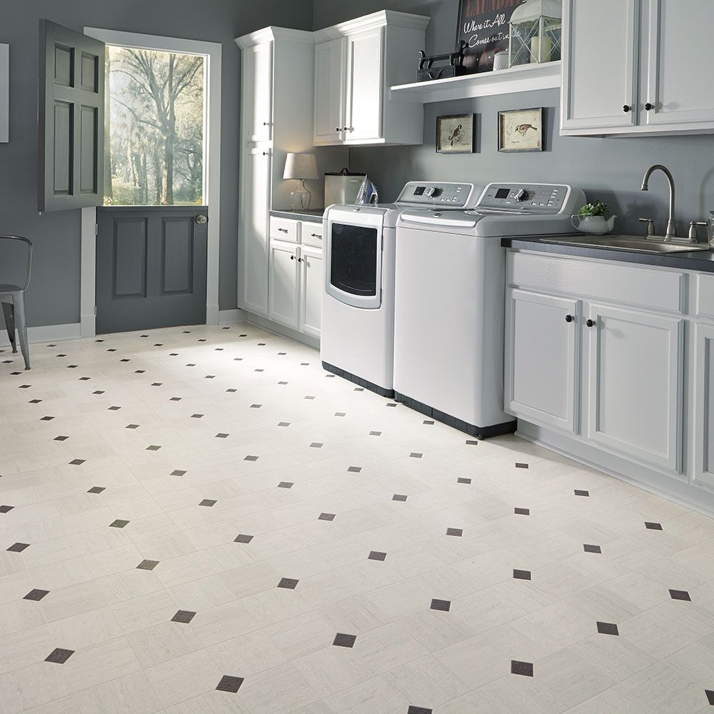 Luxury vinyl tile sheet floor art deco layout design for Vinyl kitchen flooring