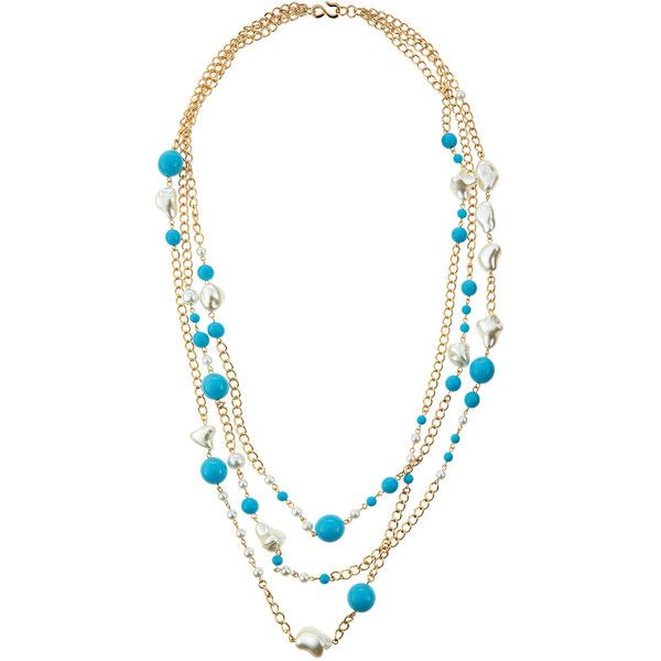 Kenneth Jay Lane Three-Row Turquoise-Hue & Pearly Bead Necklace (€97) ❤ liked on Polyvore featuring jewelry, necklaces, golden necklace, turquoise bead necklace, turquoise jewellery, kenneth jay lane necklace and kenneth jay lane