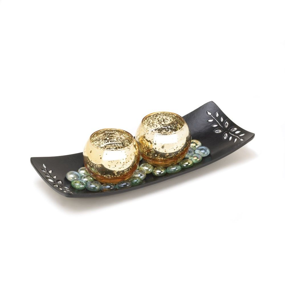 Speckled Mercury Glass Candle Holders - Two gold speckled mercury glass candle holders will glow with richness when you light candles of your choice inside.