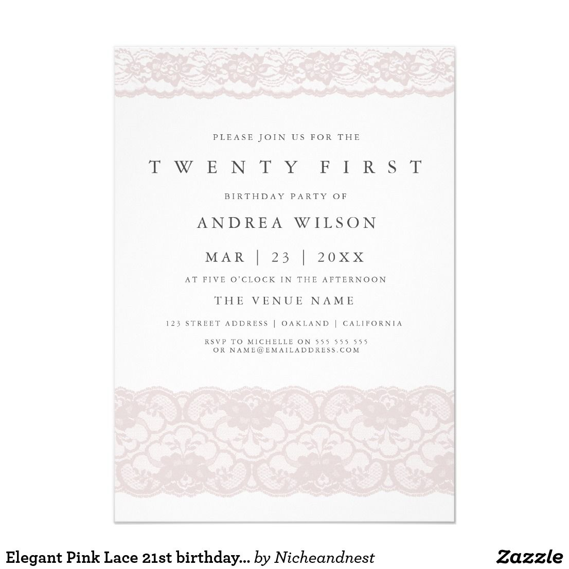 Elegant Pink Lace 21st birthday Party Invite | 21st Birthday ...