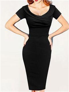 Ericdress Plain Pleated Short Sleeve Sheath Dress