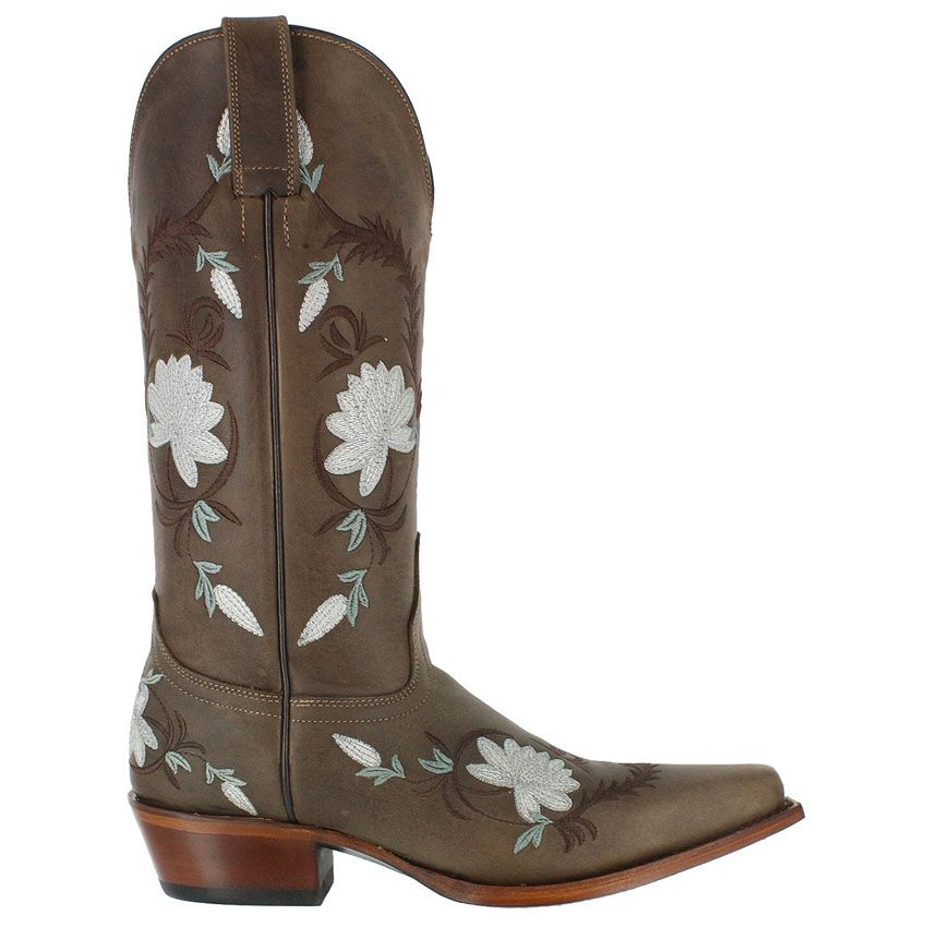 DP3512 DAISY BLUE Distressed Brown Flower Embroidery Dan Post Womens Western  Cowboy Boots