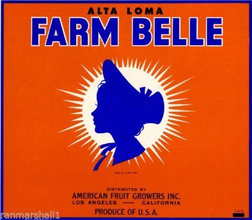 Alta Loma CA, Farm Belle Brand fruit crate label