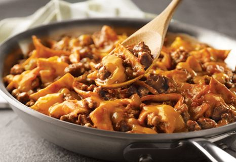 The flavors of the Southwest come alive in this easy skillet supper featuring ground beef, picante sauce, tortillas and Cheddar cheese - it's a family favorite that's on the table in just 25 minutes.