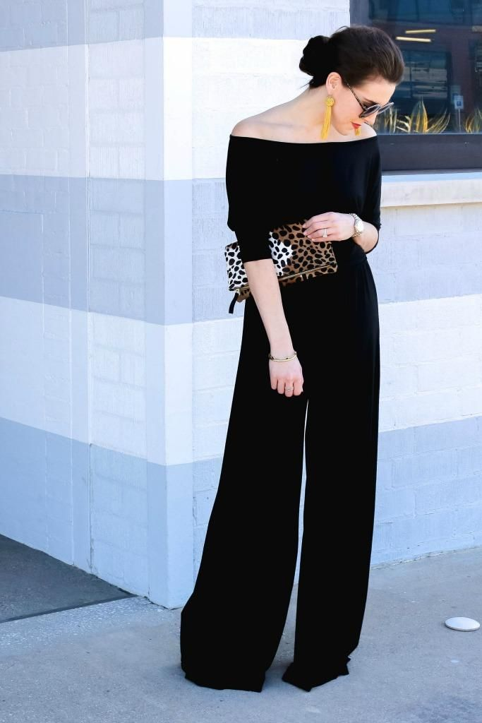876f420cf06 Off the shoulder jumpsuit and tassel earrings    http   fashionandfrills.com