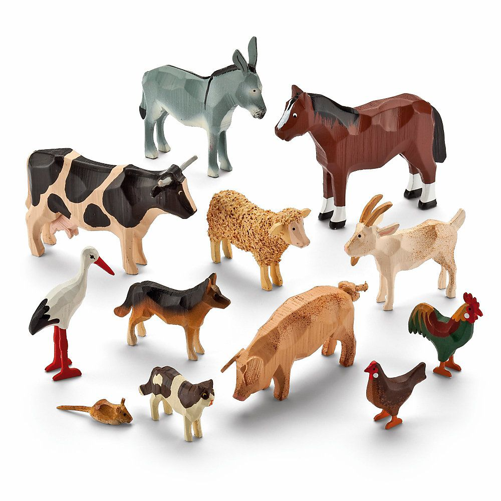 Set of Farmyard RingTurned Animals Wooden animal toys