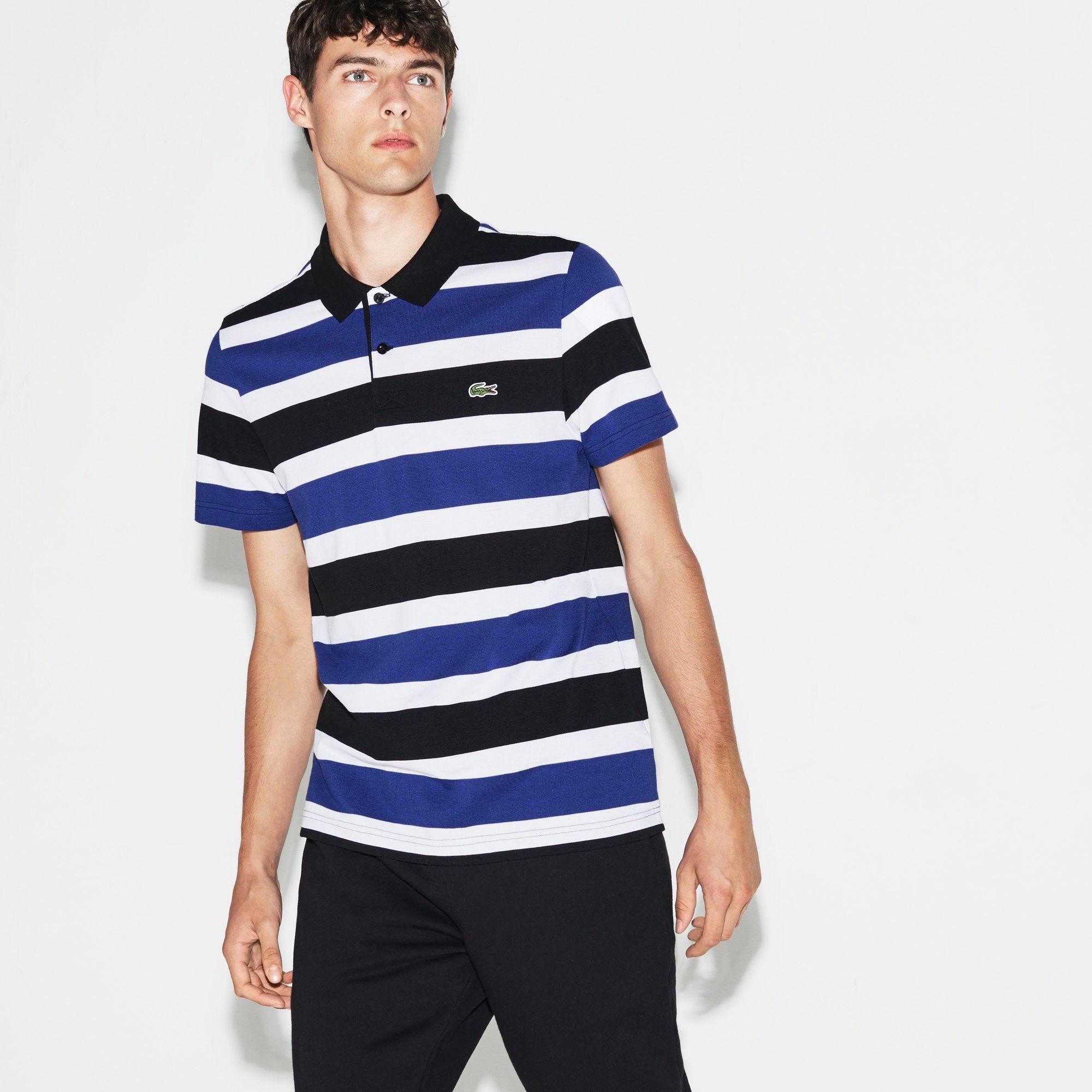 70e74dfb06 LACOSTE Men's SPORT Tennis Ultra-Light Striped Knit Polo - black ...
