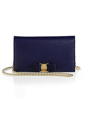 Navy Salvatore Ferragamo Miss Vara Bow Continental Wallet SFA (Oxford Blue) c238995ba48ef