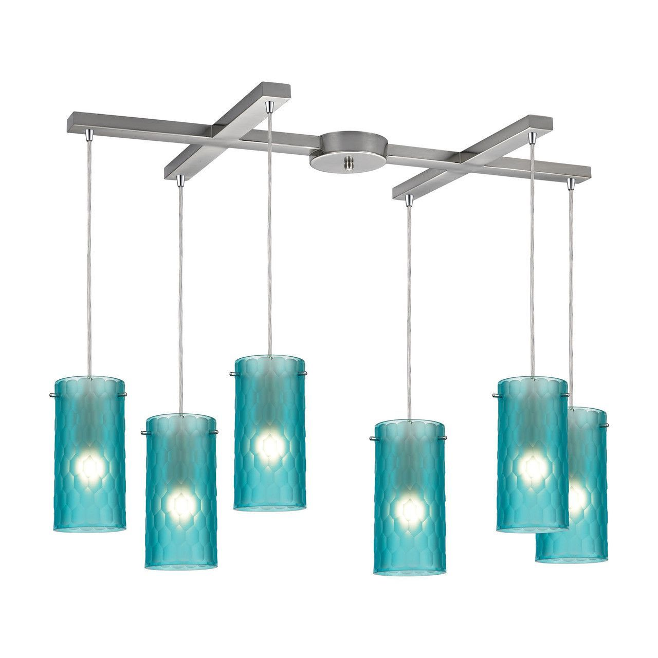 Synthesis 6 Light Pendant In Satin Nickel And Frosted Aqua Glass ...