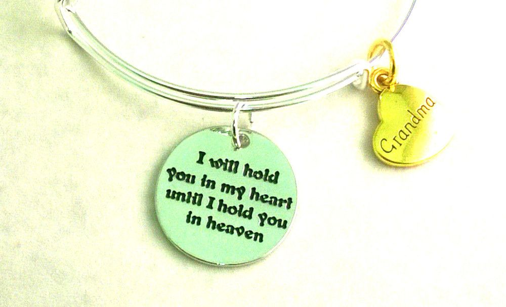 GRANDMA In Heaven Bracelet Adjustable Wire Charm In Memory Loss Love Handmade