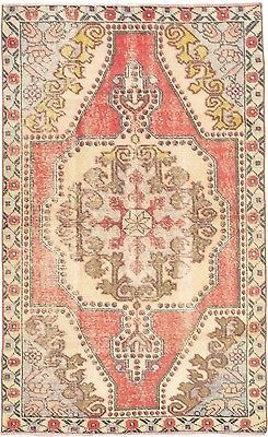 """Hand-knotted Turkish Carpet 4'0"""" x 6'10"""" Ottoman Vintage Traditional  Wool Rug (ebay)"""