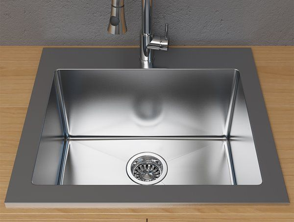 Cantrio Koncepts Dual Mount Kitchen Sink Stainless Steel 25