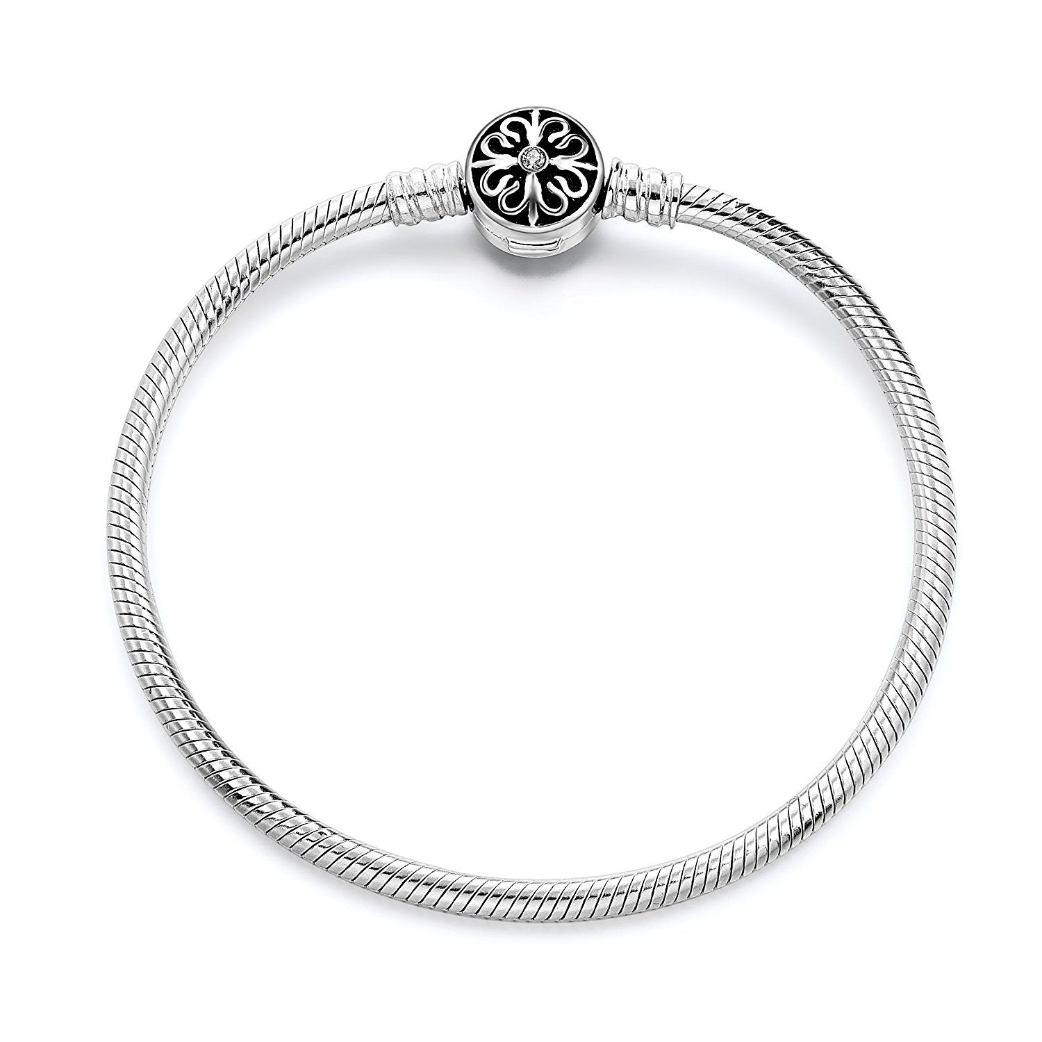 Long way sterling silver snake chain bracelet basic charm