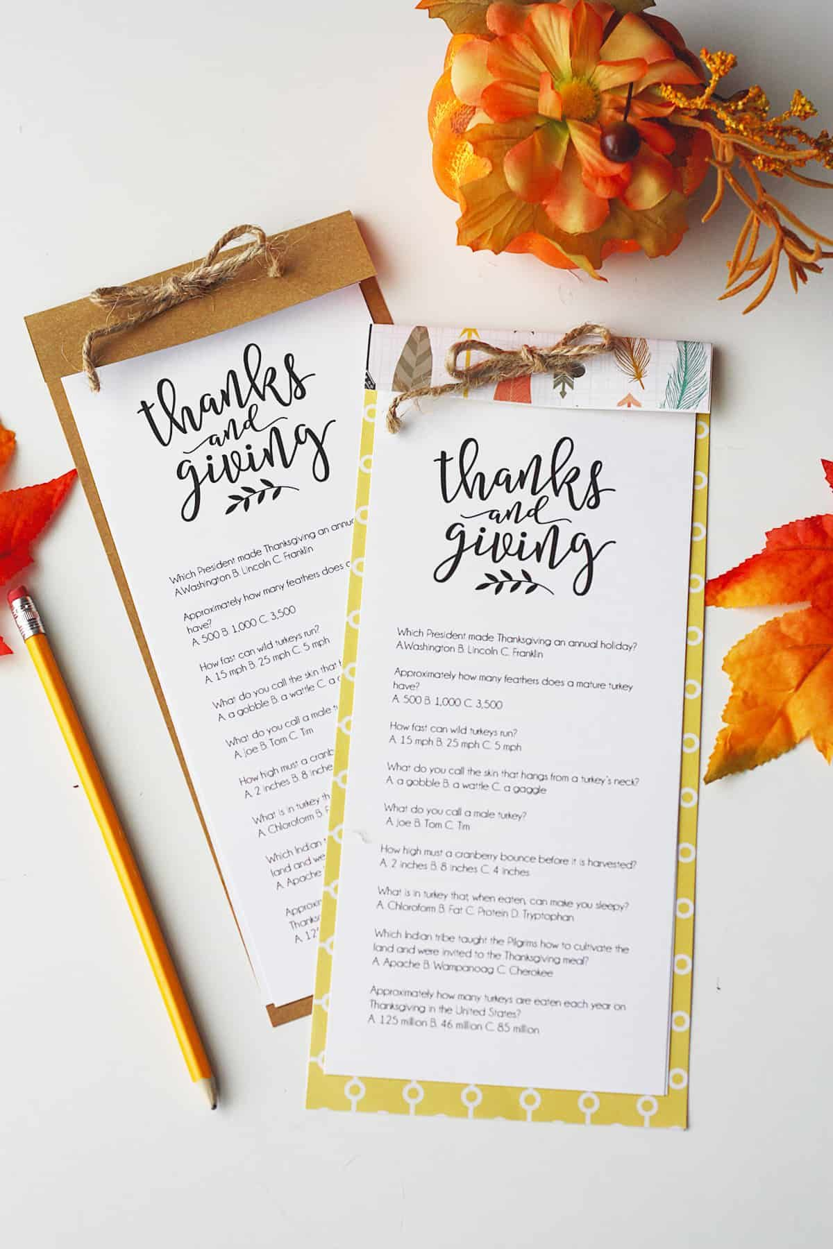 Printable Thanksgiving Trivia On Paper Laying On Table